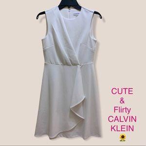 NWOT CALVIN KLEIN white faux wrap dress